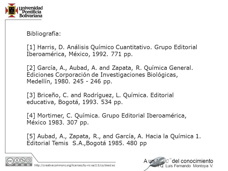 Bibliografía: [1] Harris, D. Análisis Químico Cuantitativo. Grupo Editorial Iberoamérica, México, 1992. 771 pp.